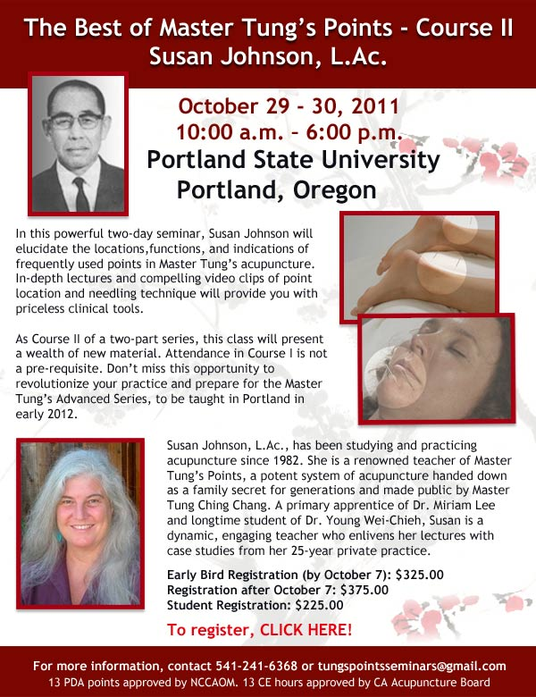 The Best of Master Tung's Points Course 2 at Portland State University October 29-30